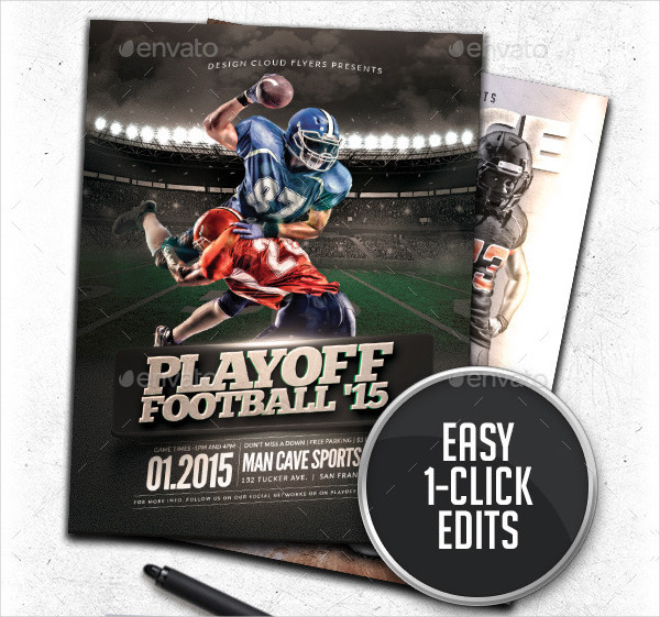 Playoff Football Flyer OR Poster Template Bundle