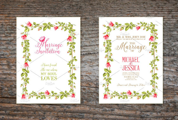 Printable Retro Marriage Invitation Card Design