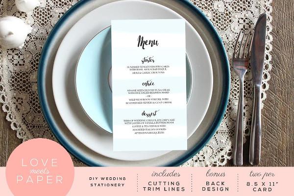 Printable Wedding Brunch Menu Design