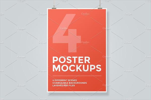 Realistic Hanging Poster Mockup