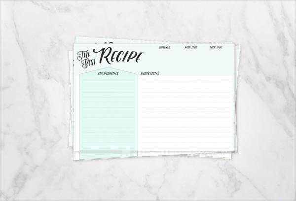 Recipe Cards Template
