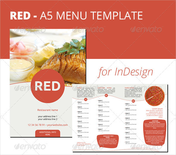 Red A5 Menu InDesign Template