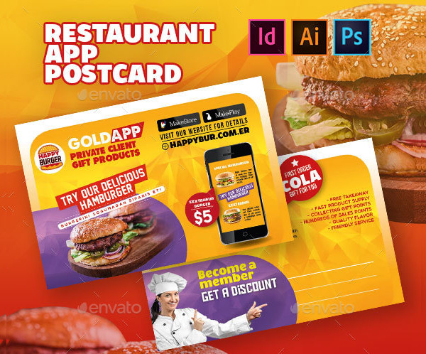 Restaurant App Postcard Templates