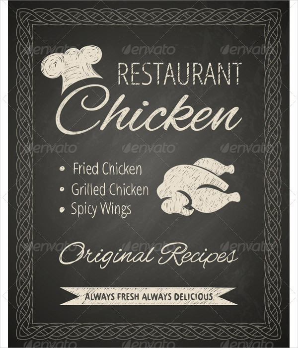 Restaurant Poster Template on Blackboard