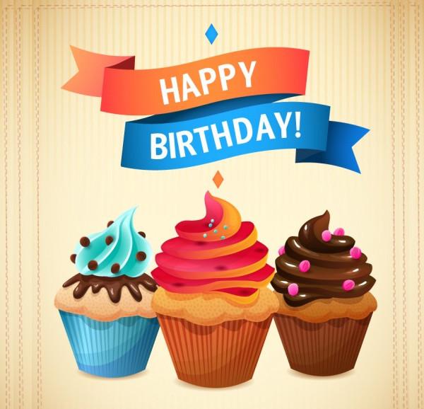 Retro Birthday Cupcakes Card Free Download
