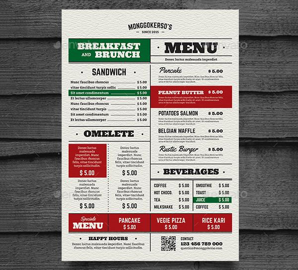Retro Brunch and Breakfast Menu Design
