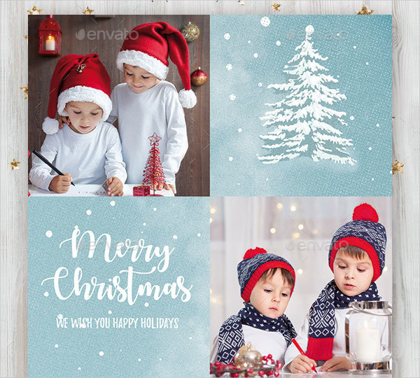 Retro Christmas Photo Cards Template