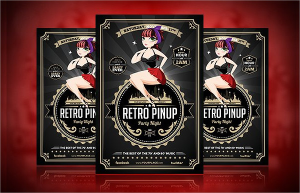 Retro Pinup Model Flyer Template
