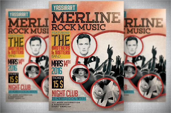 Retro Rock Music Flyer Template