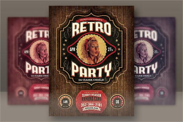 Retro DJ Party Flyer Template