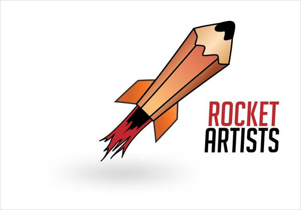 Rocket Artists Logo Vector Free