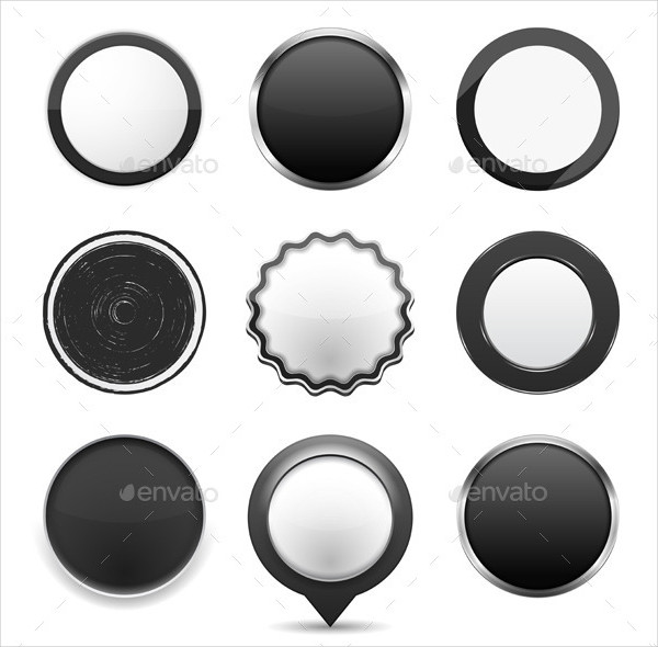 Set of Different Round Black Buttons on White Background