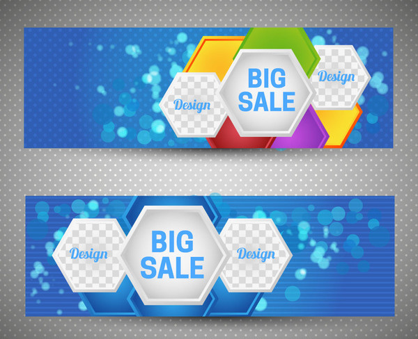 Sale Banner Sets on Bokeh Background Free