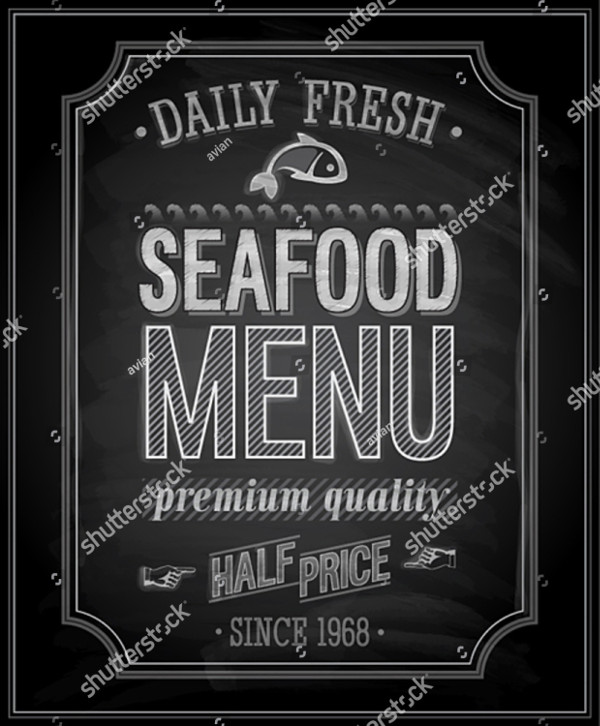 Sea Food Poster in Chalkboard Vector