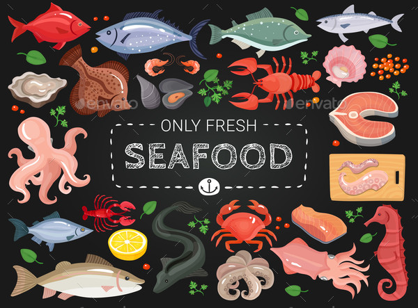 Seafood Colorful Chalkboard Menu Poster Design