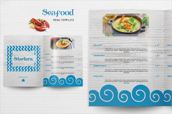 Cool Seafood Menu InDesign Template