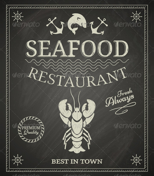Seafood Restaurant Poster on Chalkboard