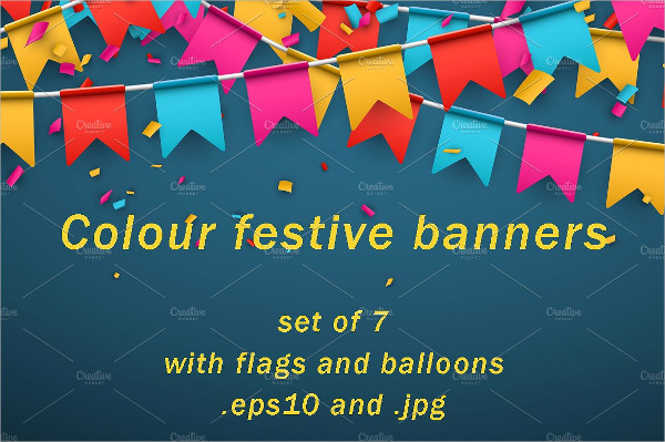 Set Of Color Festive Banners