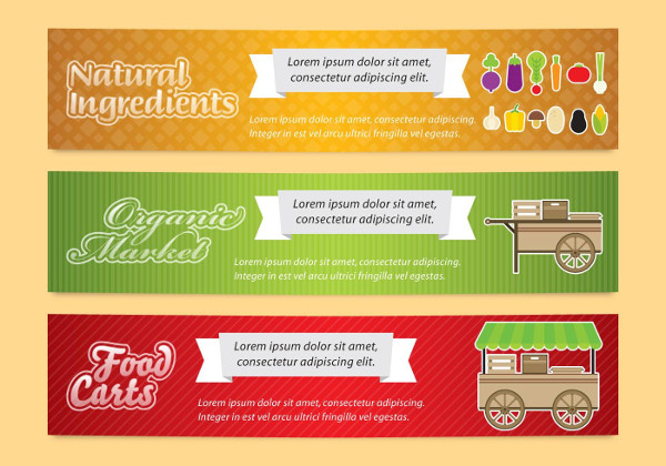 Set of Food Carts Banners Free Download
