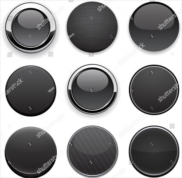 Set of Blank Black Buttons for Website or App
