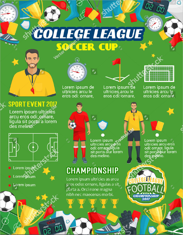 Soccer Cup Championship or Football College League Poster