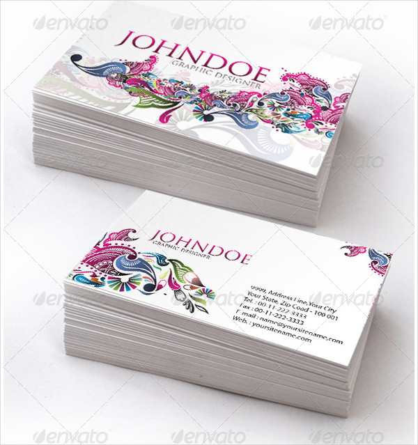 Stylish Floral Business Cards Set
