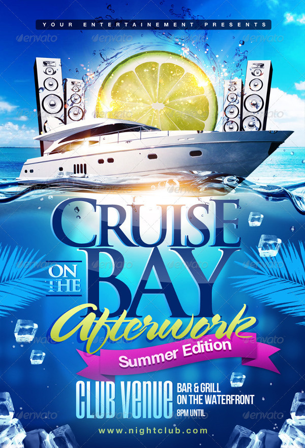 Summer Boat Cruise Party Flyer Design