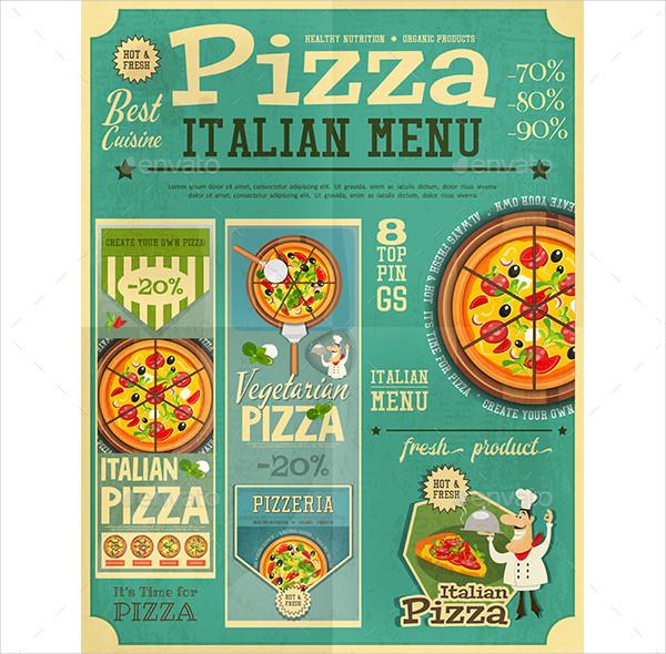 Pizza Italian Menu in Retro Vintage Style