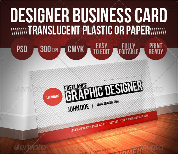 Translucent Plastic Paper Designer Business Card