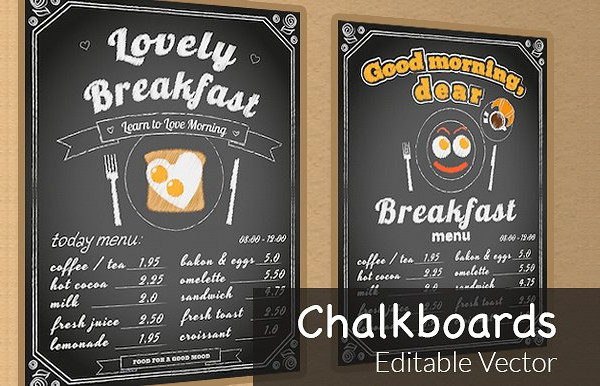 Two Creative Vector Chalkboards Poster