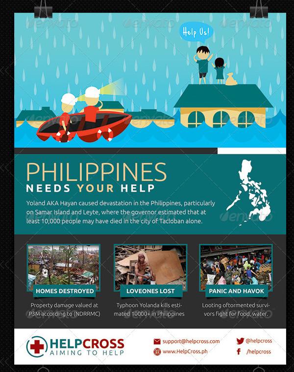 Typhoon Victim Donation Flyer Template