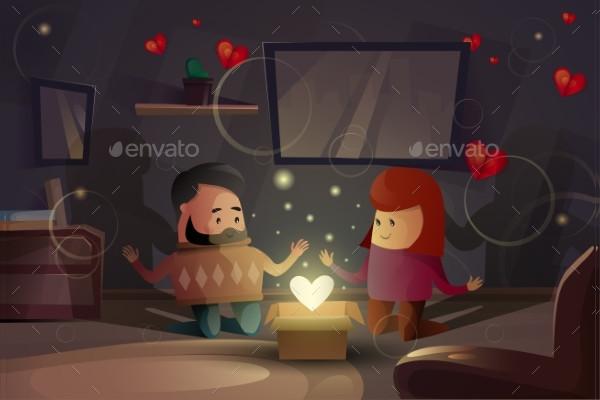 Valentine Day Holiday Gift Card Design