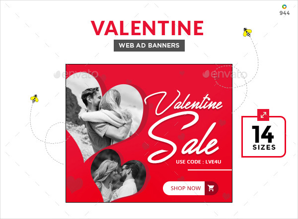 Valentines Day Marketing Banner Set