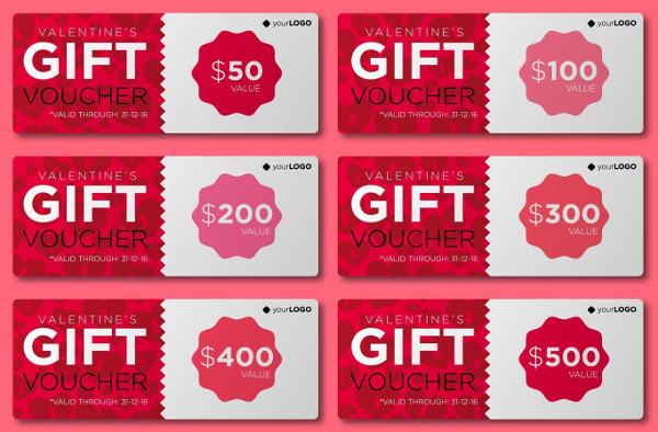 Valentines Vector Gift Cards Template Free