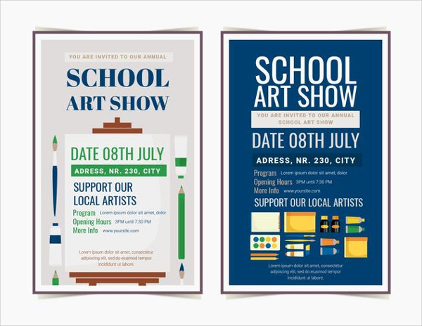 Vector School Art Show Posters Free