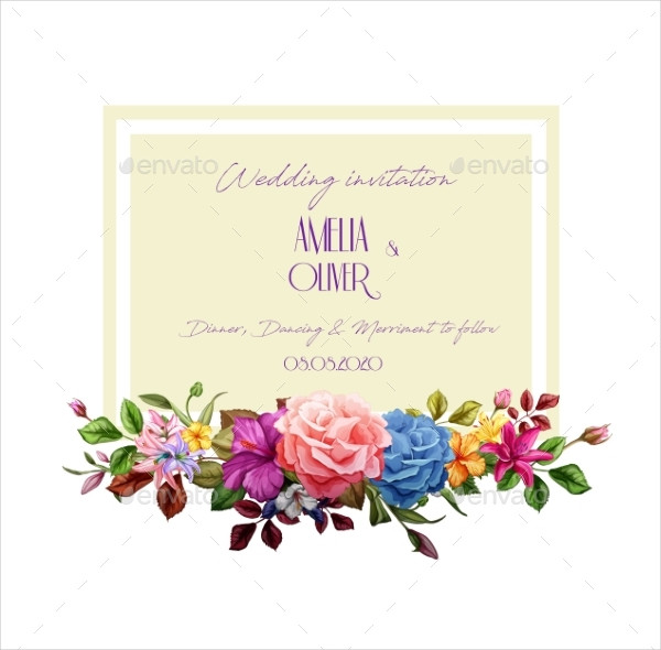 Vector Watercolor Lily Rose Flower Marriage Card