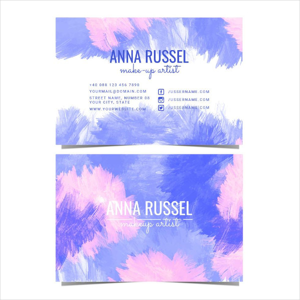 Vector Watercolor Makeup Artist Business Card Free
