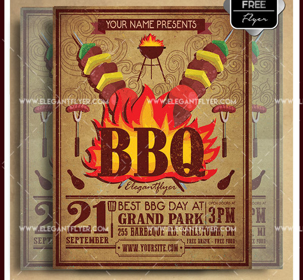 Vintage BBQ Free Party Flyer Design