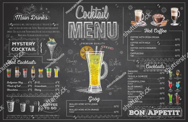 Vintage Chalk Drawing Cocktail Menu Design