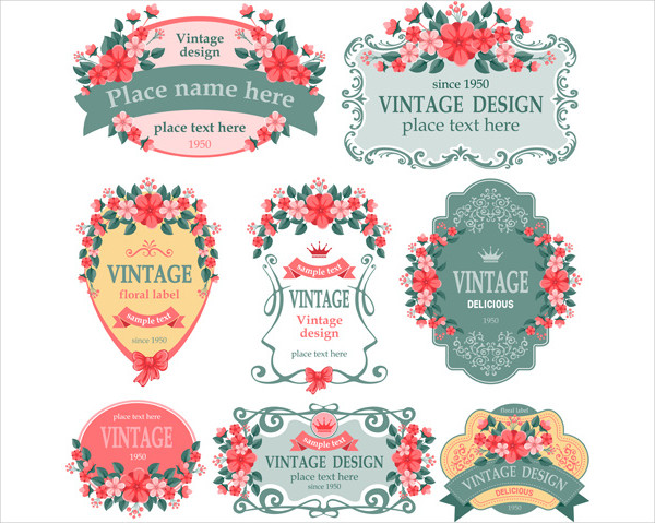Vintage Floral Labels Vector Graphics Free