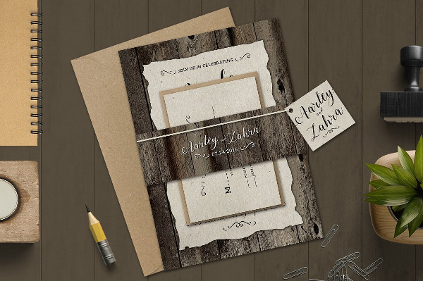 Vintage Marriage Invitations Set