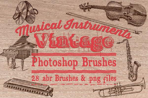 Vintage Music Instruments Photoshop Brushes