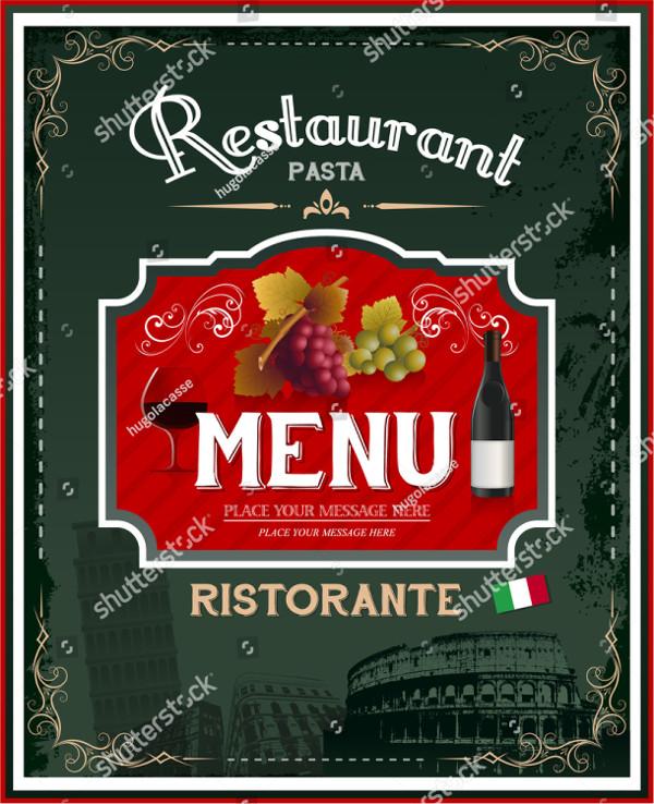 Vintage Italian Restaurant Menu Poster Design