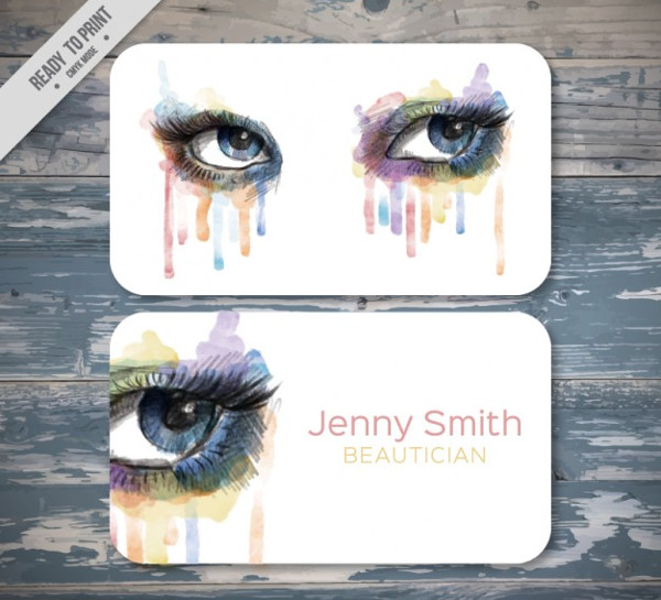 Watercolor Beautician Business Card Free Download