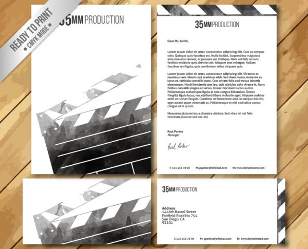 Watercolor Film Visiting Cards Set Free Download