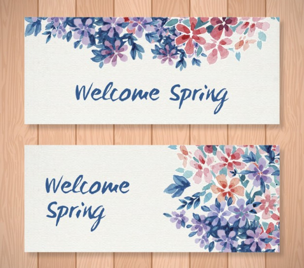 Free Watercolor Floral Welcome Spring Banners Download