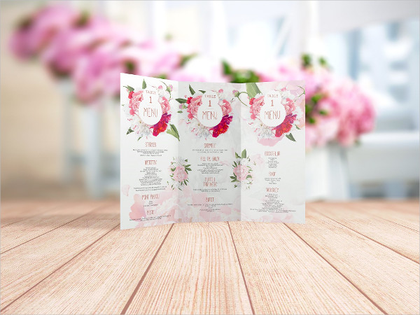 Floral Wedding Menu InDesign Template