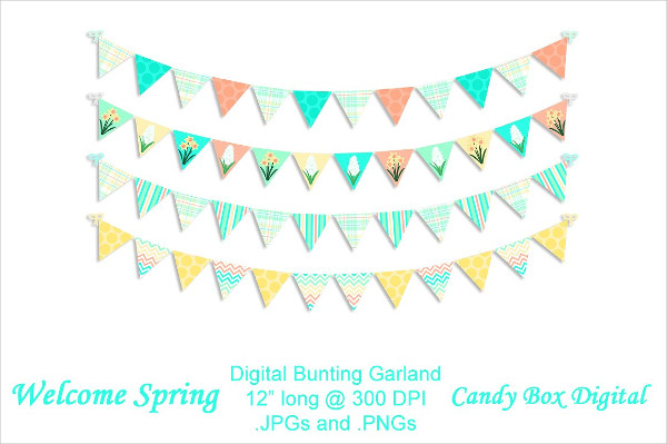 Welcome Spring Digital Bunting Banner