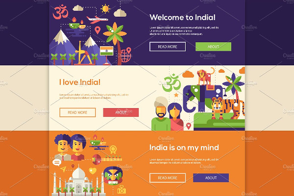 Welcome to India Travel Banners Set