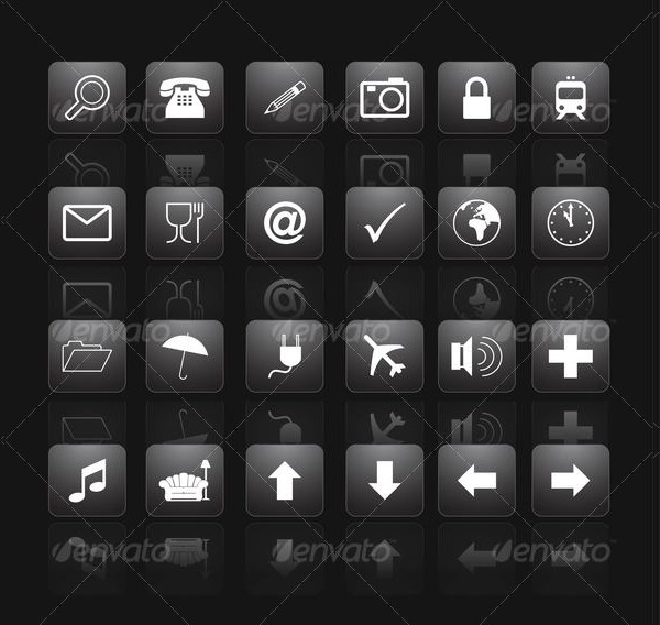 Gradient Black Buttons PSD